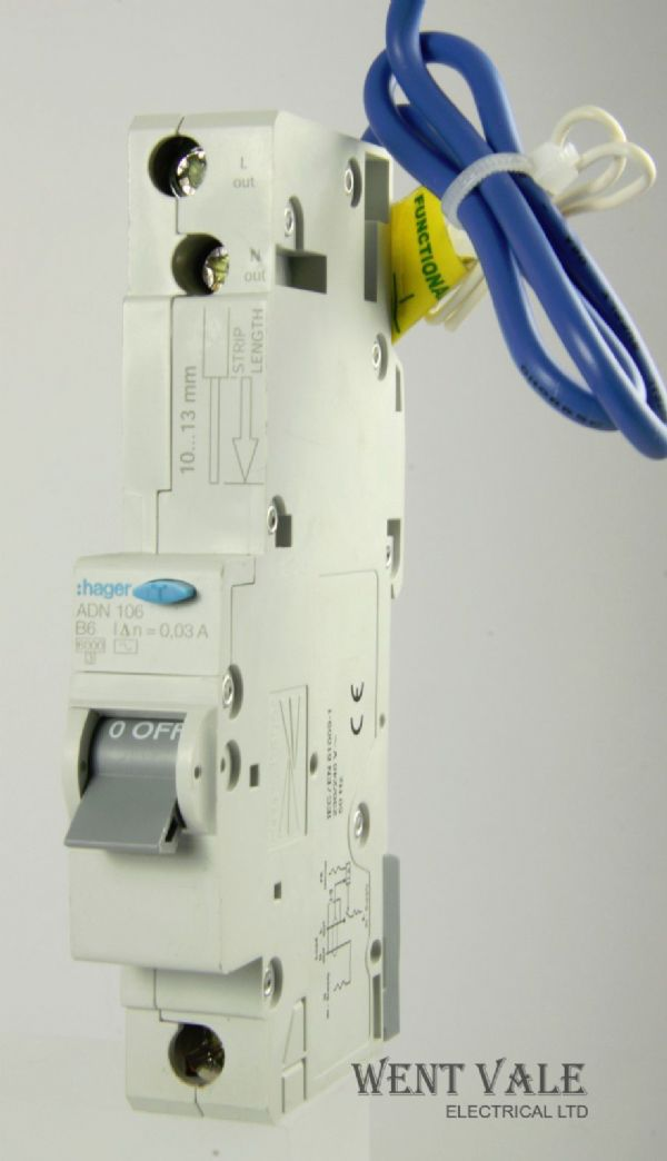 Hager - ADN106 - 6a 30mA AC Type B Single Pole RCBO Used
